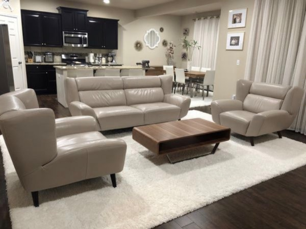 Astonishing Binata Leather Sofa And Two Chairs Set In Pewter By Domicil From Dania Furniture Gmtry Best Dining Table And Chair Ideas Images Gmtryco