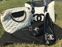 black and white leather tote bag Brossard, J4W 2Y9