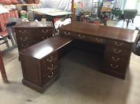 Desk/File cabinet, Solid wood construction, Walnut finish . Gaithersburg, 21771