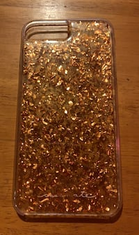 Copper sparkle, confetti, iphone 8 plus case