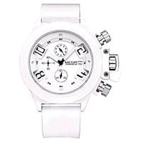 round white chronograph watch with white leather strap Toronto, M3H 4Y2