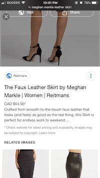 Stunning Megan Markle Leather Skirt size 12 Newmarket, L3Y