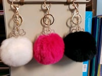 "4"" Genuine Rabbit Fur Pom Pom Keychain with Tiara Woodbridge, 22193"