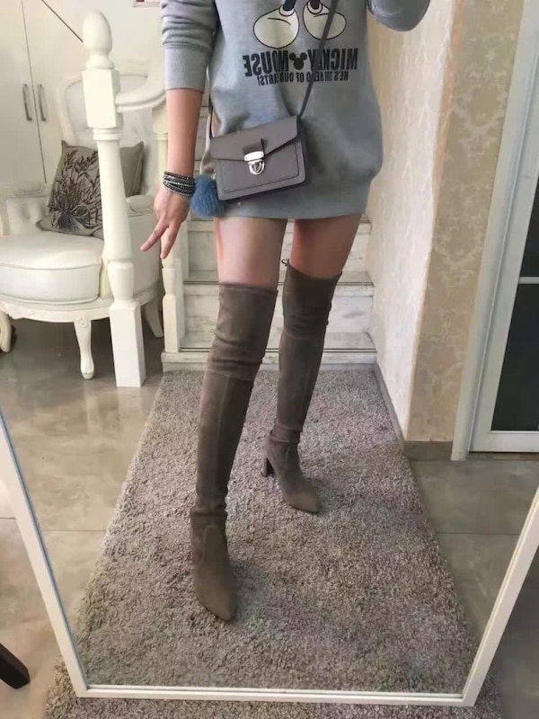 086a84537e0 Used stuart Weitzman Highland over the knee Taupe Suede Boots size ...