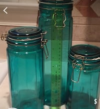 Set of 3 Glass Green Storage Canisters Arlington, 22204