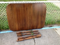 brown wooden folding table with two chairs Montreal