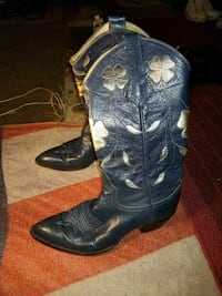 pair of blue leather cowboy boots