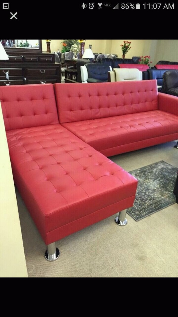 Used Red Leather Sectionalsofa Bed For Sale In Atlanta Letgo