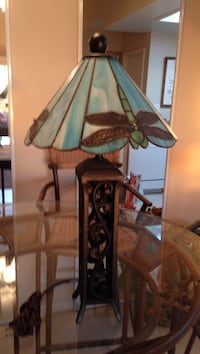 brown and green floral table lamp