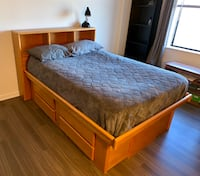 Brown wooden bed frame Falls Church, 22043