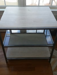 square brown wooden 3-layered side table
