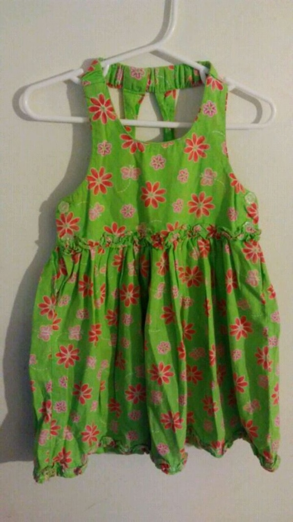 green and pink floral sleeveless dress