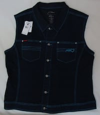 FUBU The Collection Womens Denim Vest, Size 2X