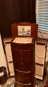 Stand up jewelry armoire with side doors and 10 draws Medford, 11763