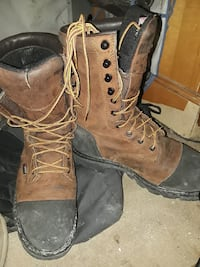 brown-and-black combat boots