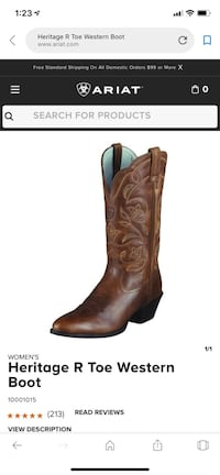 Ariat Heritage R Toe Western Boots (Size 6.5B) Chantilly, 20152