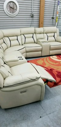 7 pc off white leather gel match sectional  North Highlands, 95660