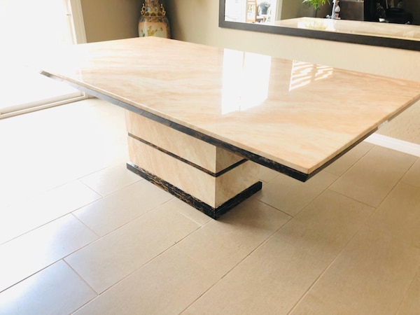 7pc Beige Marble table•Delivery and installation•No credit check 11e30fb6-0b6a-4d74-839e-5a8604fcb030