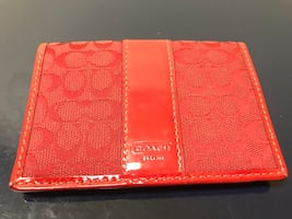 Red leather coach bifold wallet