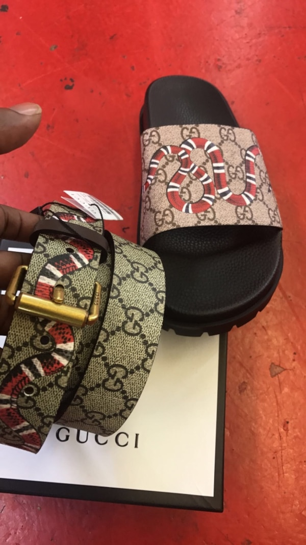 424f2b788 Used brown leather Gucci belt embellished with snake print for sale in  Atlanta - letgo