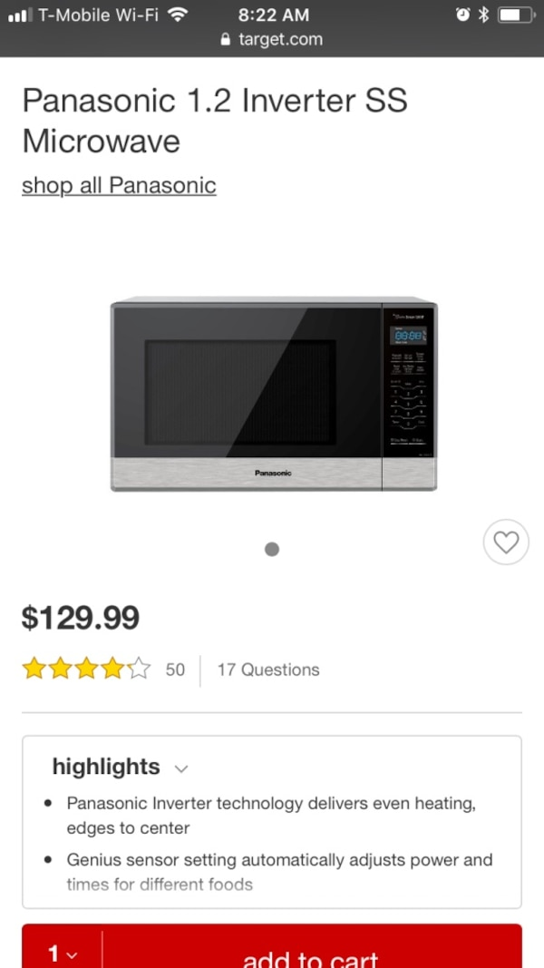 Panasonic microwave oven - great condition