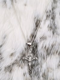 Sterling Silver Fancy Crucifix Curb Necklace