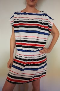 Beautiful cocktail dress w. red/white/blue/black stripes from H&M. Lik Toronto, M6H 1R2