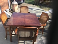 rectangular brown wooden table with four chairs dining set Henrico, 23294