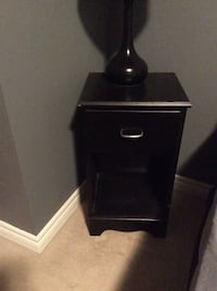 Black wooden 2-drawer nightstand Whitby, L1M 1J6