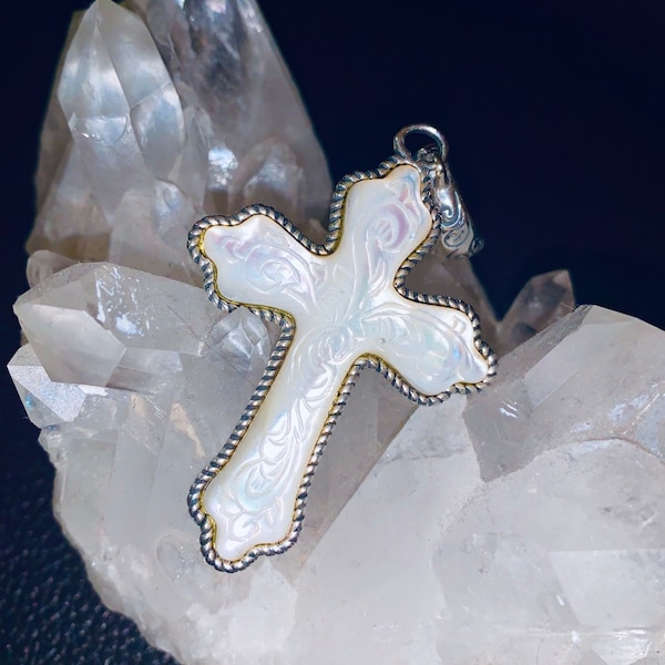 Carolyn Pollack Sterling Silver Carved Mother of Pearl Cross Pendant a78232a2-a9a9-42a6-a61a-739475d7ffd2