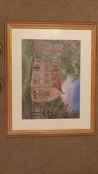 House near tree painting with brown wooden frame