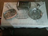 Beautiful glass and stainless serving set