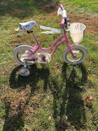 Toddler's pink and white bicycle with training wheels Attleboro, 02703
