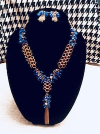 Blue and gold necklace and earrings  The Village, 73120