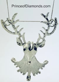 Big Silver coloured moose pendant charm with real sterling silver chain  Brampton, L6R 1X5