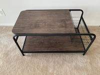 Rustic Coffee table with wired basket storage Rockville
