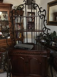 Wood oak and iron cabinet with matching glass table and chairs  Tampa, 33647
