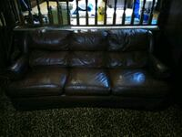 Brown leather couch Union City