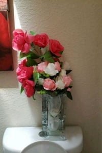 pink, red, and white artificial roses centerpiece Fontana, 92337