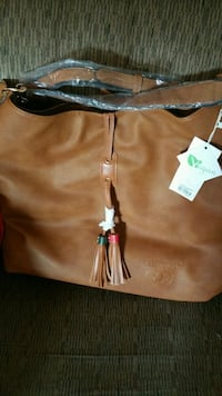 brown and black leather tote bag Sparta, 38583