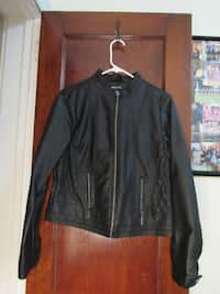 Black faux leather zip-up jacket 130fa72ff