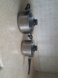 two stainless steel cooking pot