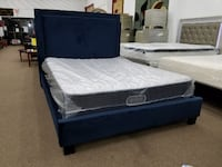 LED lighted headboard queen size blue platform bed only  College Park