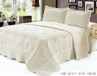 Quilt 3 pc Bedding Bed set / Bedspread / embroidered / 2 pillow sham, Cream Markham
