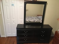 Black wooden bed and dresser w/ mattress and box spring Upper Marlboro, 20772