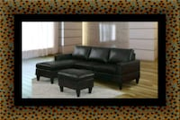 Black sectional with ottoman Fairfax