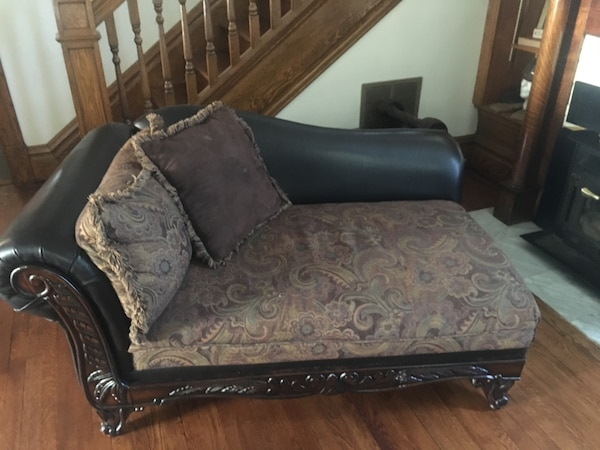 Wood Leather And Floral Fainting Couch