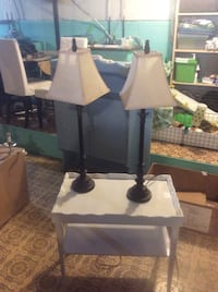 two black wooden base white shade table lamps Surrey, V3R