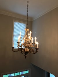 Gold uplight chandelier with 15 lights
