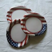 24 count of white-red-and-blue oval paper plates  Owings Mills